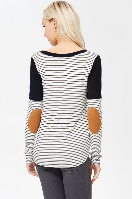 Striped V-Neck Suede Patches Top