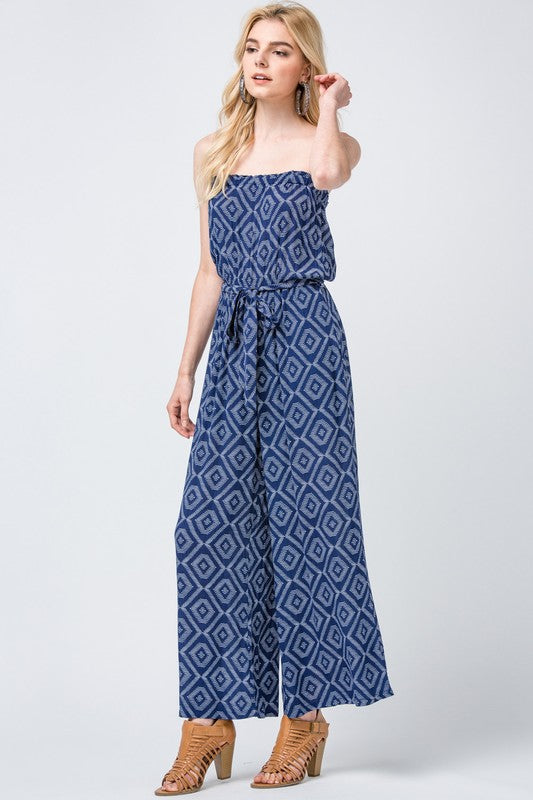 Tribal Blue Sleeveless Jumpsuit