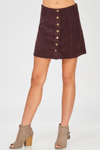 Burgundy Corduroy Skirt