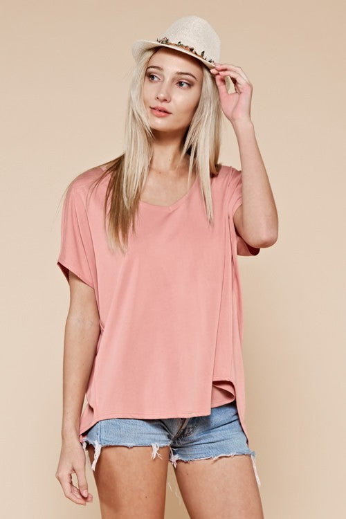 Mauve Split Back Top