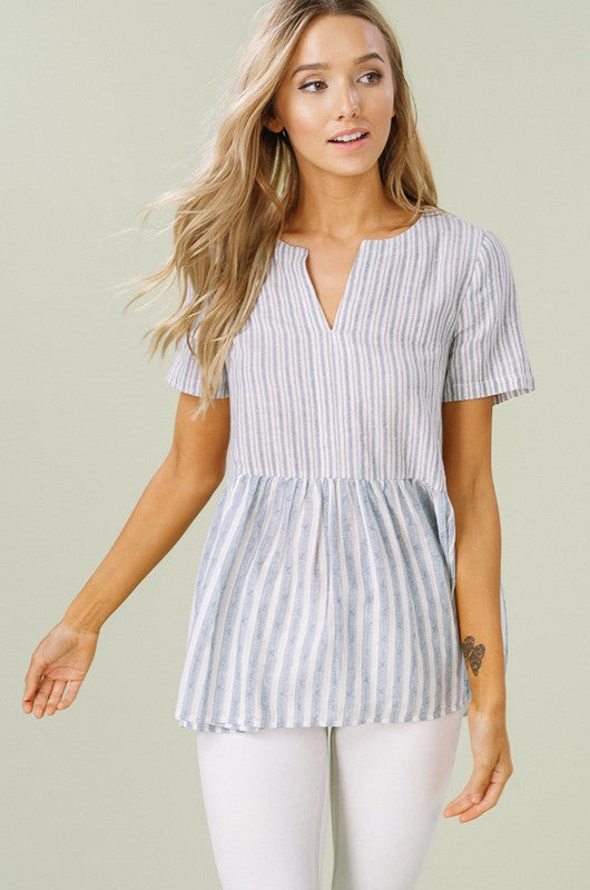 Striped Blue Babydoll Top