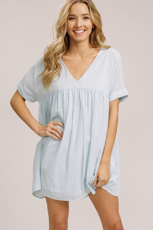 Light Blue Babydoll Tunic