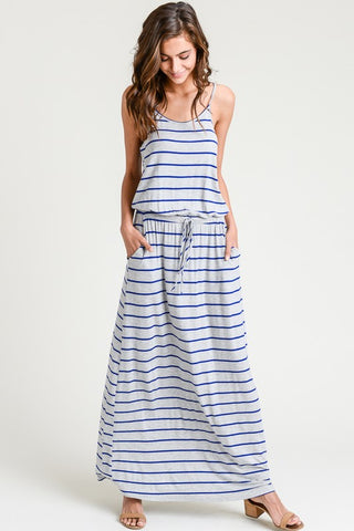 Striped Blue Maxi Dress