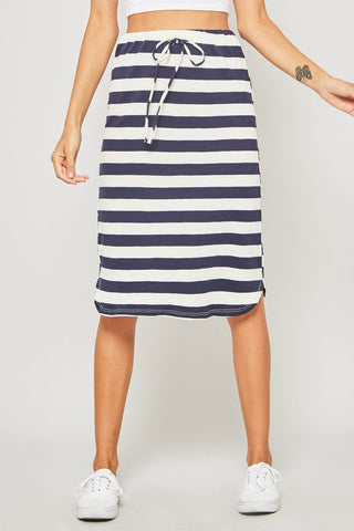 Navy Cream Midi Skirt
