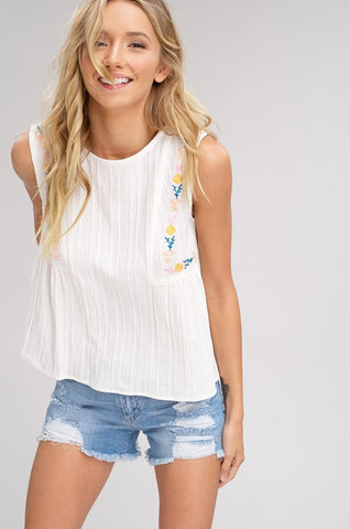 Embroidered Ivory Tank