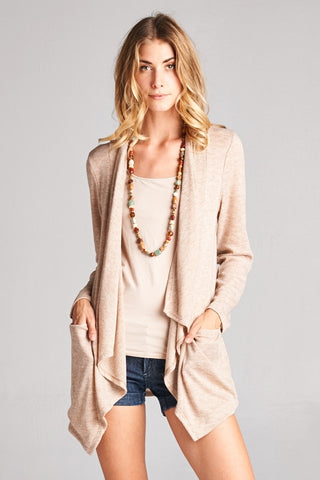 Taupe Sweater Knit Cardigan