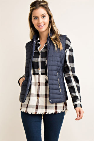 Navy Solid Quilted Padding Vest