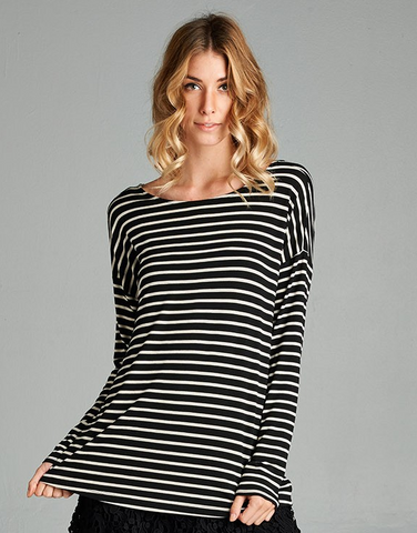 Striped Knot Back Top