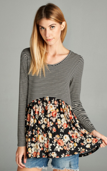 Black and White Striped Top with Floral
