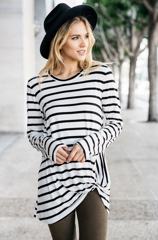 Striped Front Hem Knot Top