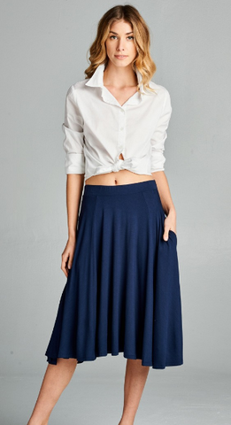 Navy Flared Skirt