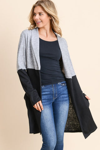 Black and Grey Colorblock Cardigan