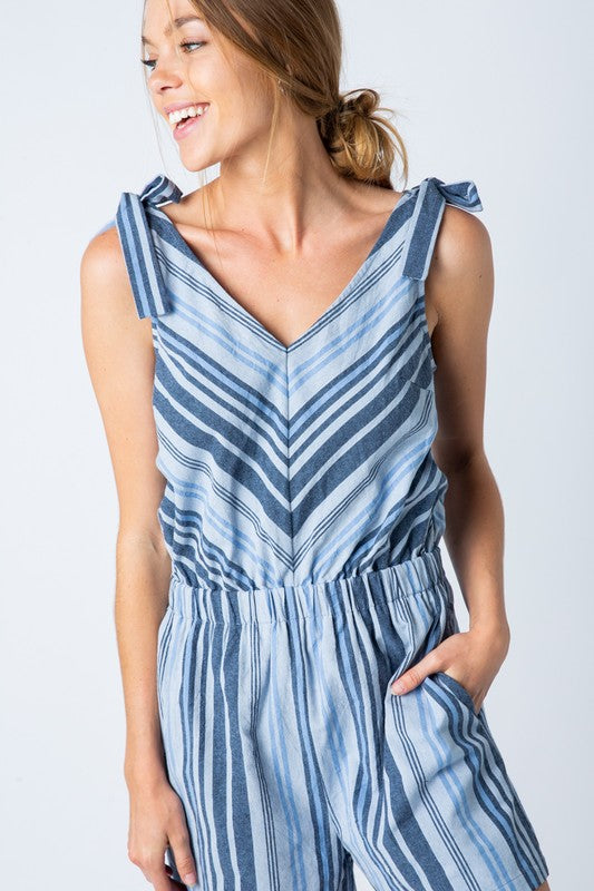 Skies are Blue Chevron Romper