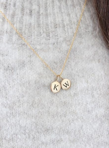 necklace with gold initial medallion - Piper & Chloe