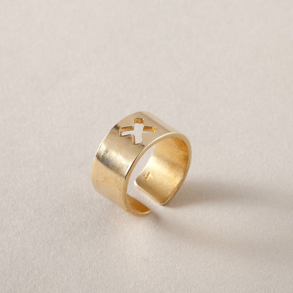 ring wide band in brass X