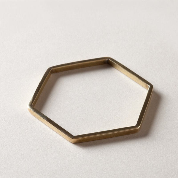 hexagon brass bangle
