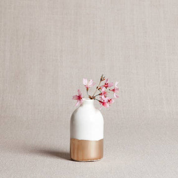 minimalist bud vase in white + gold - Piper & Chloe