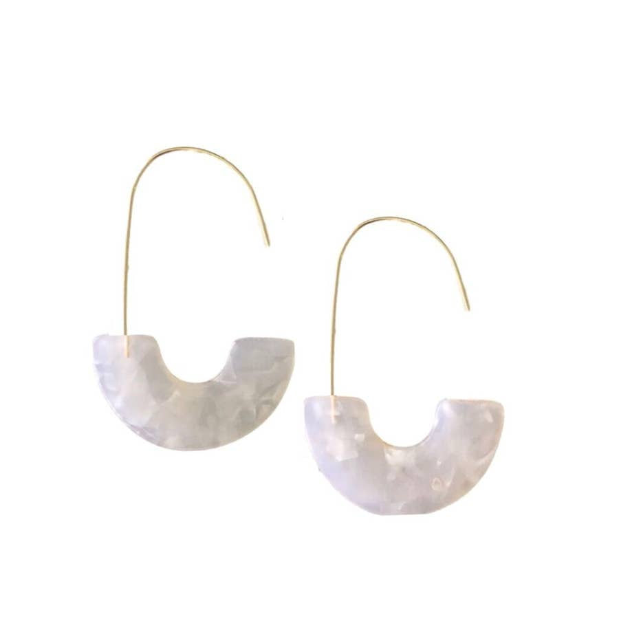 isla hoops in marble white - Piper & Chloe
