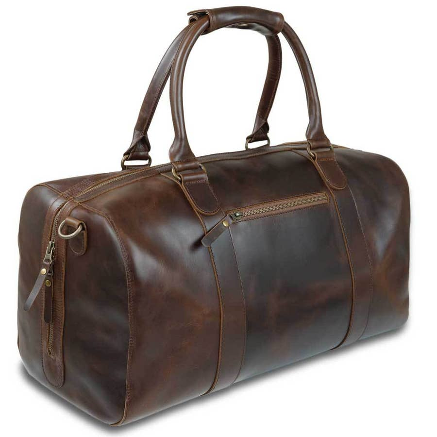 leather duffle bag in willow stripes - Piper & Chloe