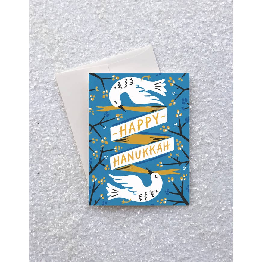 greeting card - hanukkah doves - Piper & Chloe