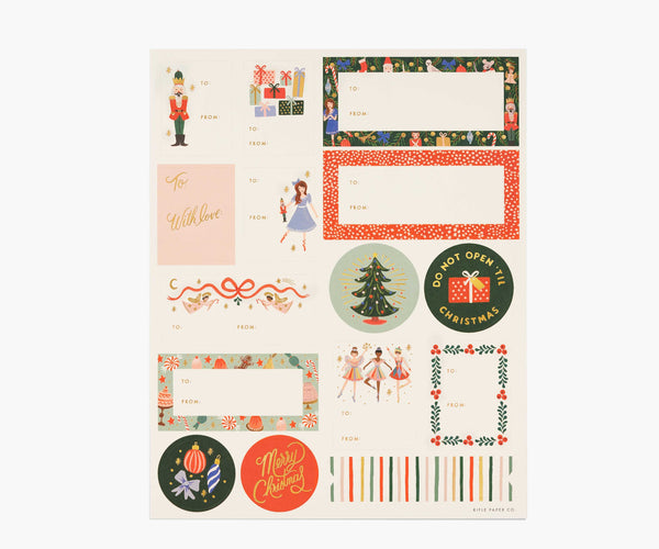 nutcracker gift stickers and labels