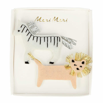 zebra & lion hair clips - Piper & Chloe