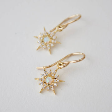 gold opal star earrings - Piper & Chloe