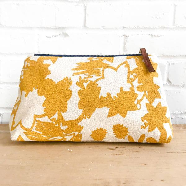 makeup zipper bag in gold deep woods