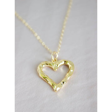 hammered open heart necklace - Piper & Chloe