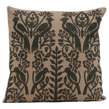 embroidered pillow in charcoal - Piper & Chloe