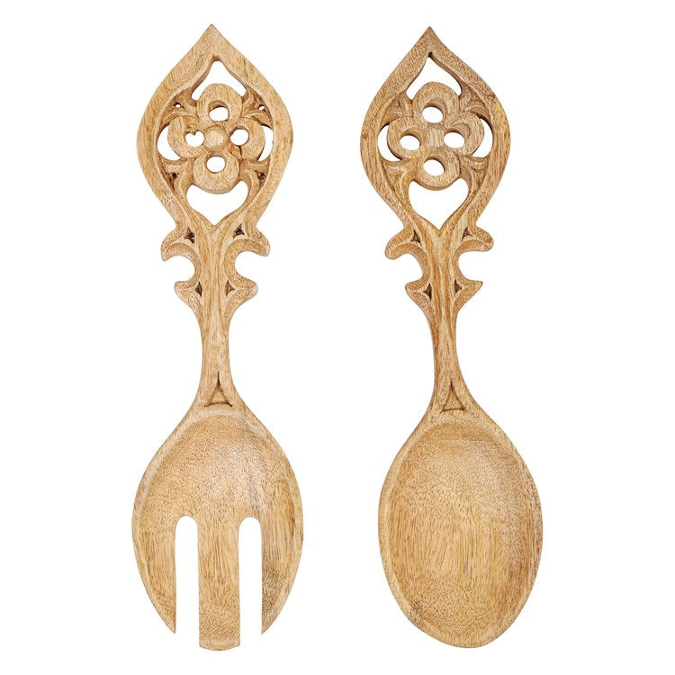 salad servers in handcarved mango wood - Piper & Chloe