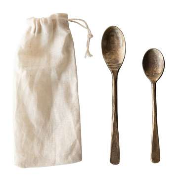 Antique Hand-Forged Metal Spoon Set in Bag | Piper & Chloe