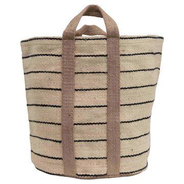 jute striped bag in natural & black - Piper & Chloe