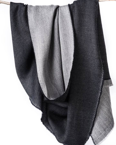 eden reversible merino scarf in black