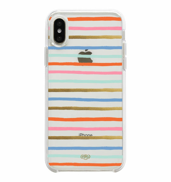 iphone case in clear happy stripes