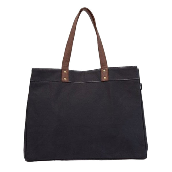 canvas carryall tote in waxed black