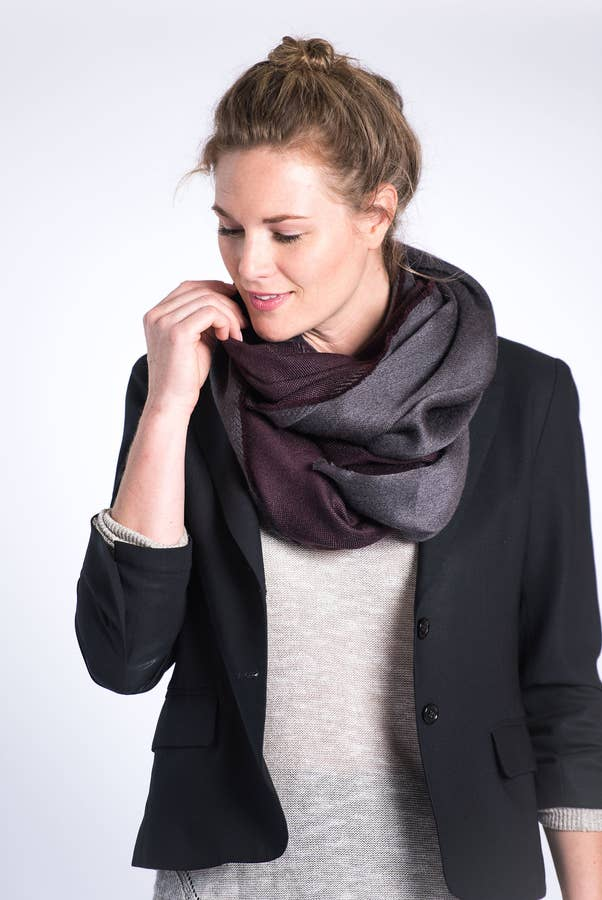 eden reversible merino scarf in black - Piper & Chloe