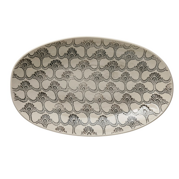 Adra Hand-Stamped Embossed Black and White Botany Inspired Stoneware Plate | Piper & Chloe