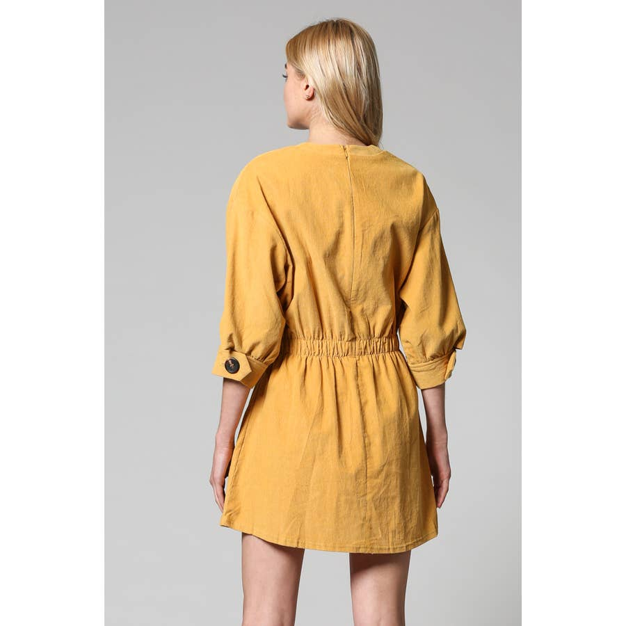 corduroy shift dress in mustard - Piper & Chloe