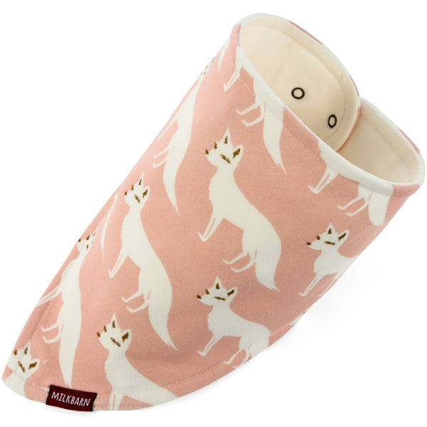kerchief bib in pink fox