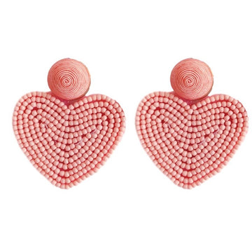 beaded heart earrings in pink - Piper & Chloe