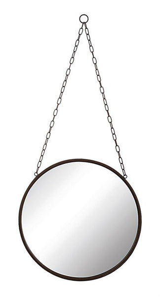 hanging black rimmed mirror