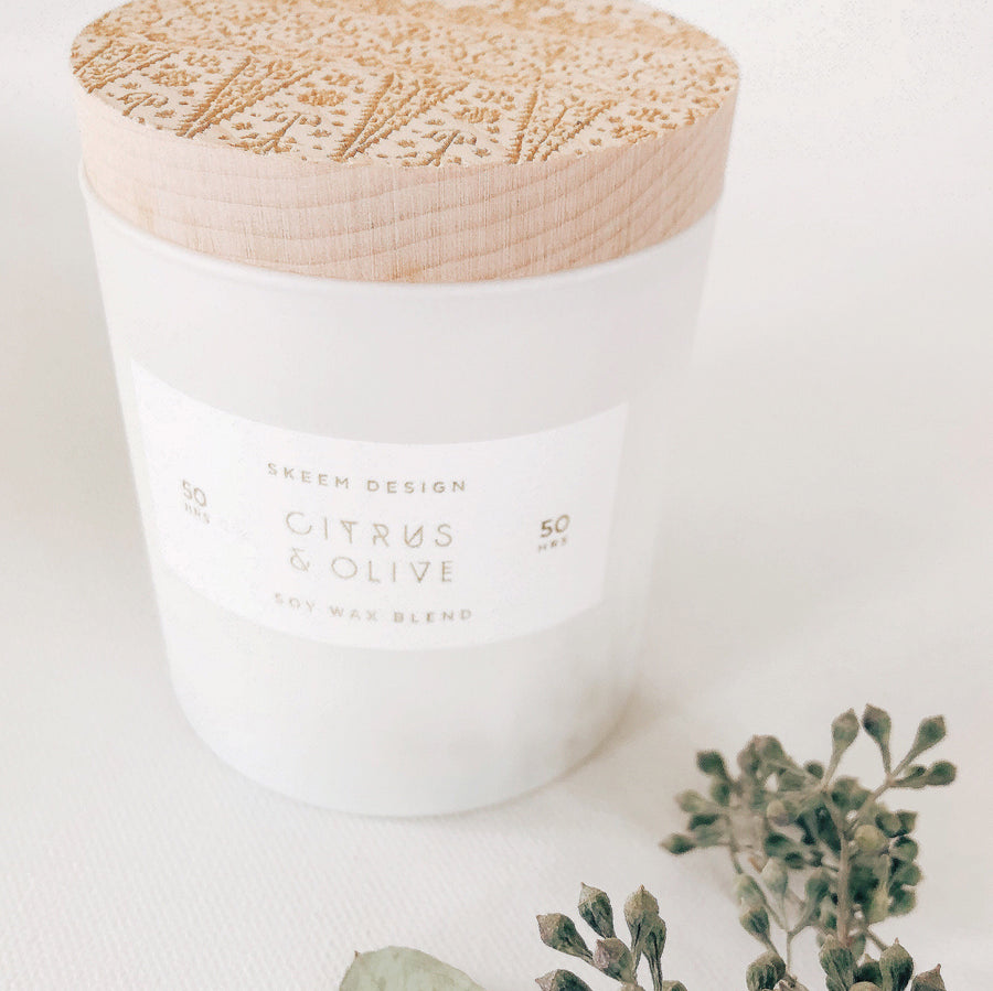 wood block candle in citrus & olive - Piper & Chloe