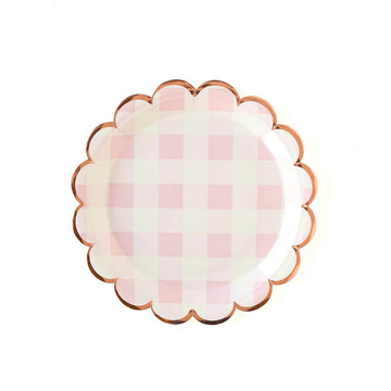 scalloped plates in pink buffalo check - Piper & Chloe