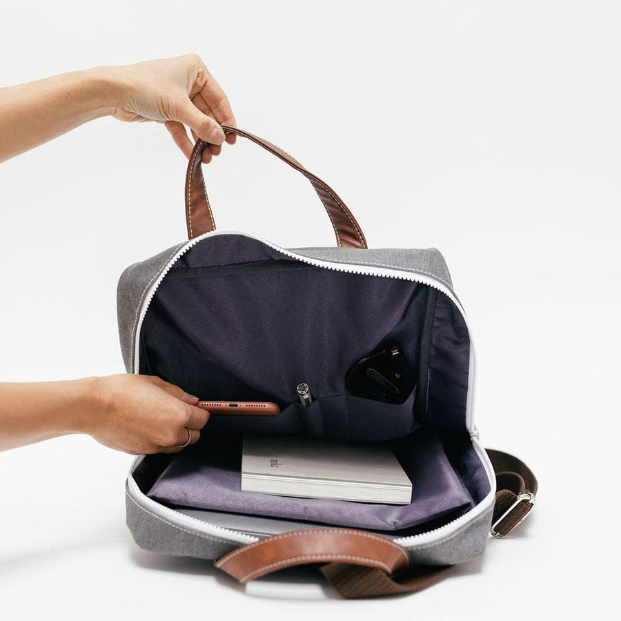 canvas laptop backpack in waxed tansy - Piper & Chloe