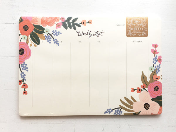 weekly desk pad lively floral - Piper & Chloe