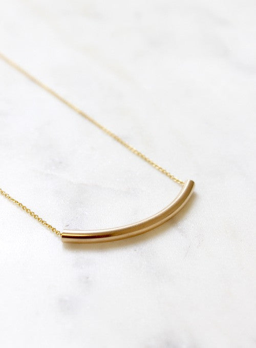 gold tube necklace - Piper & Chloe