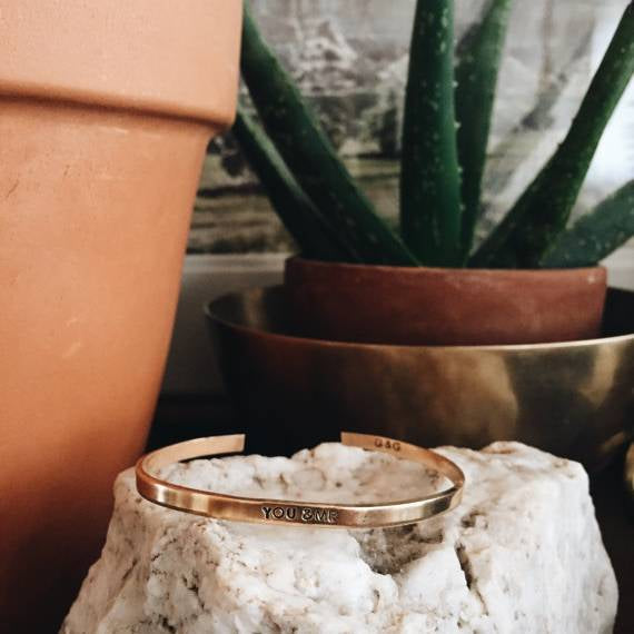 skinny stamped cuff bracelet in gold