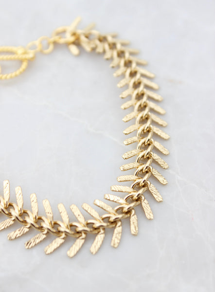 24kt gold plated fishbone bracelet