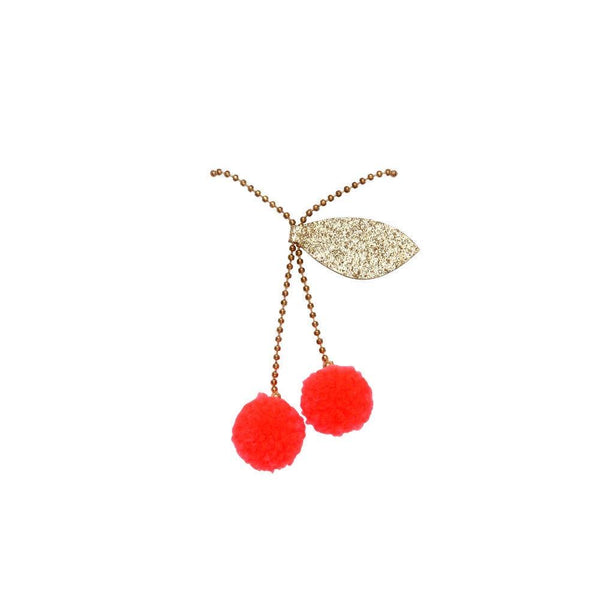 cherry pompom necklace